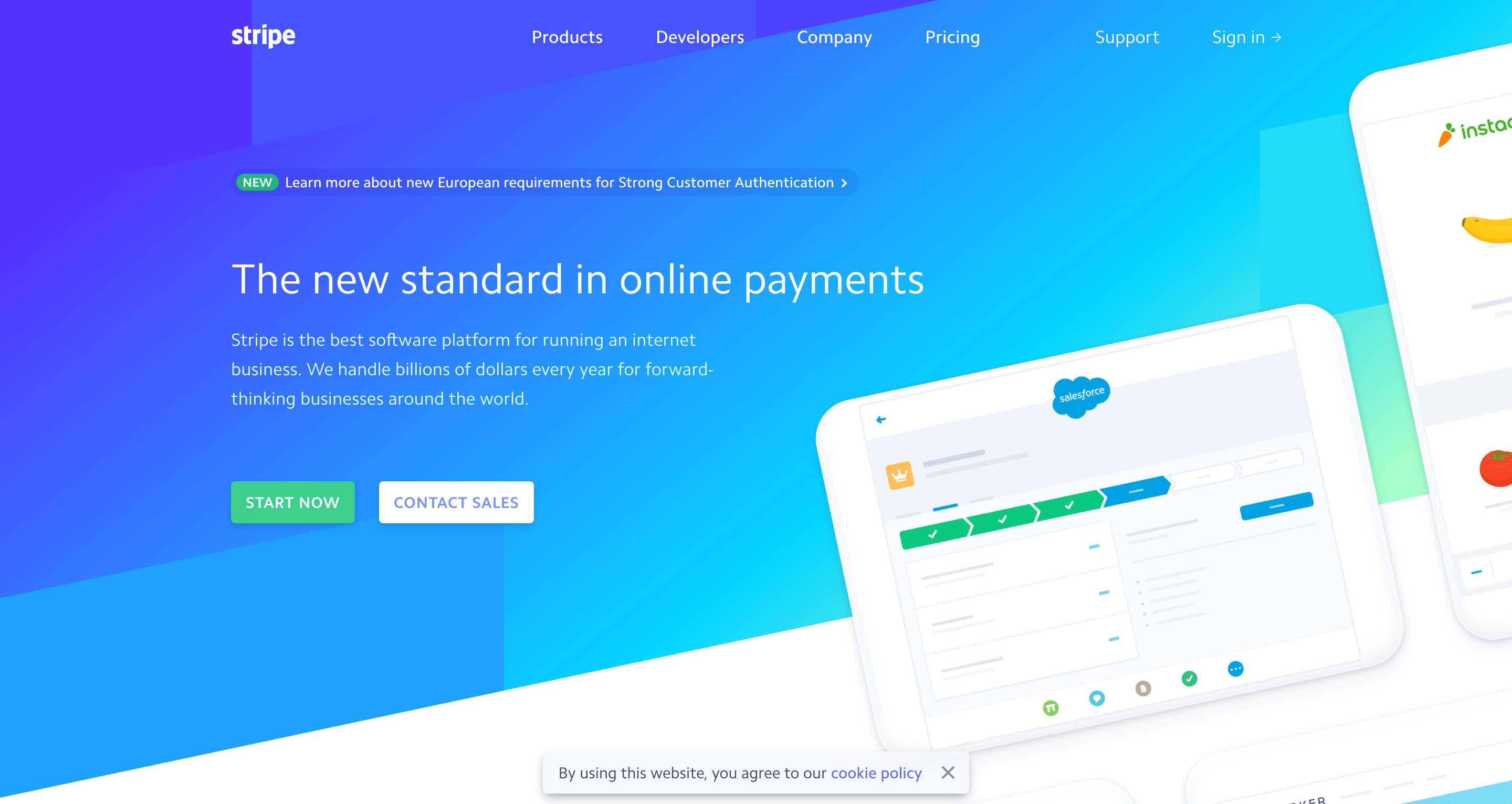 An example of gradients in web design from Stripe