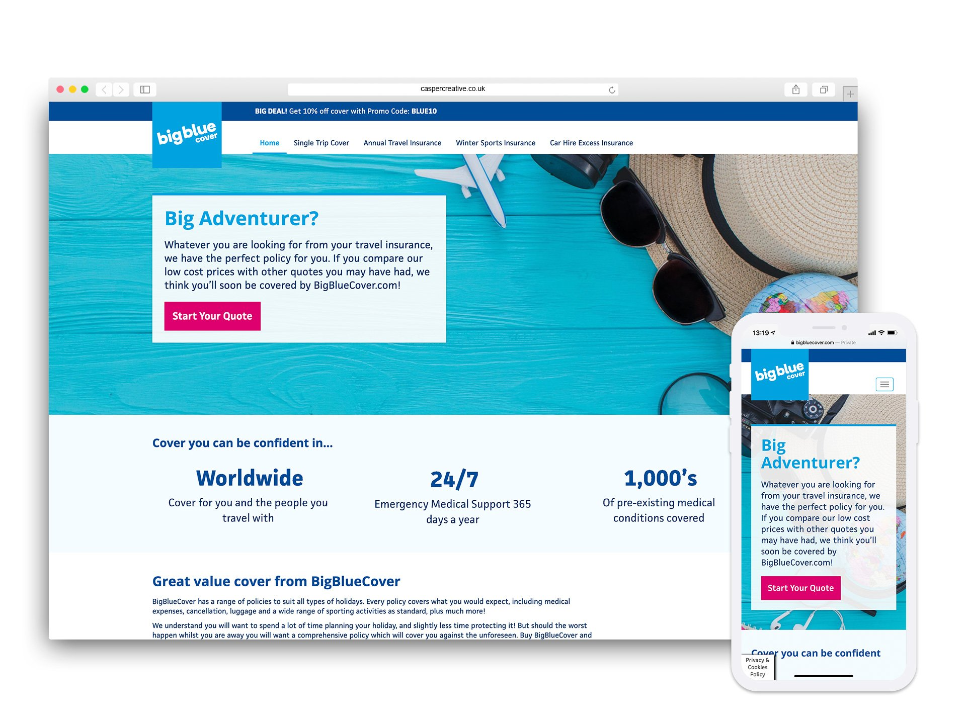 Big Blue Cover Website Designed and Developed by Casper Creative