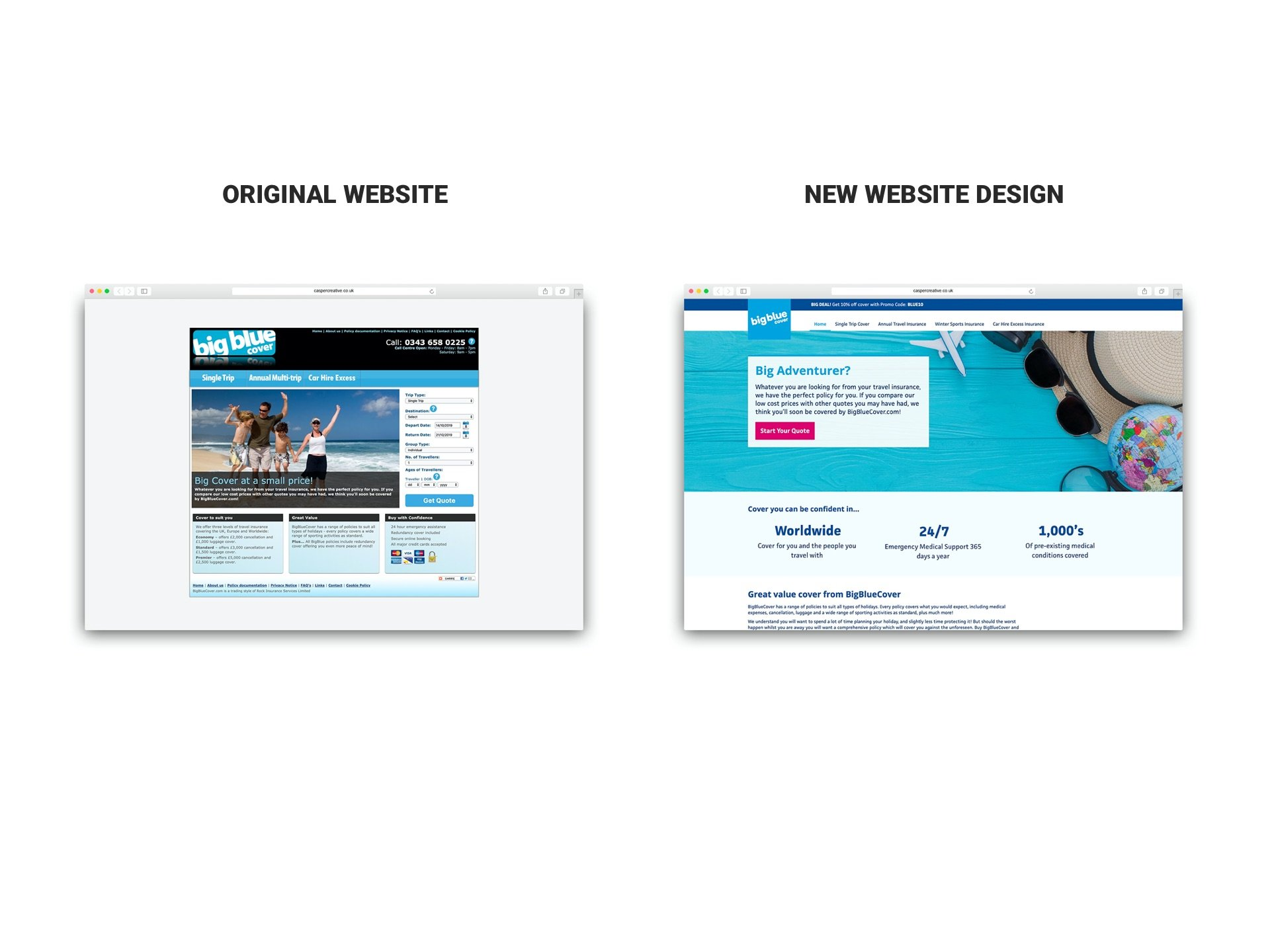 BigBlueCover.com website refresh by Casper Creative