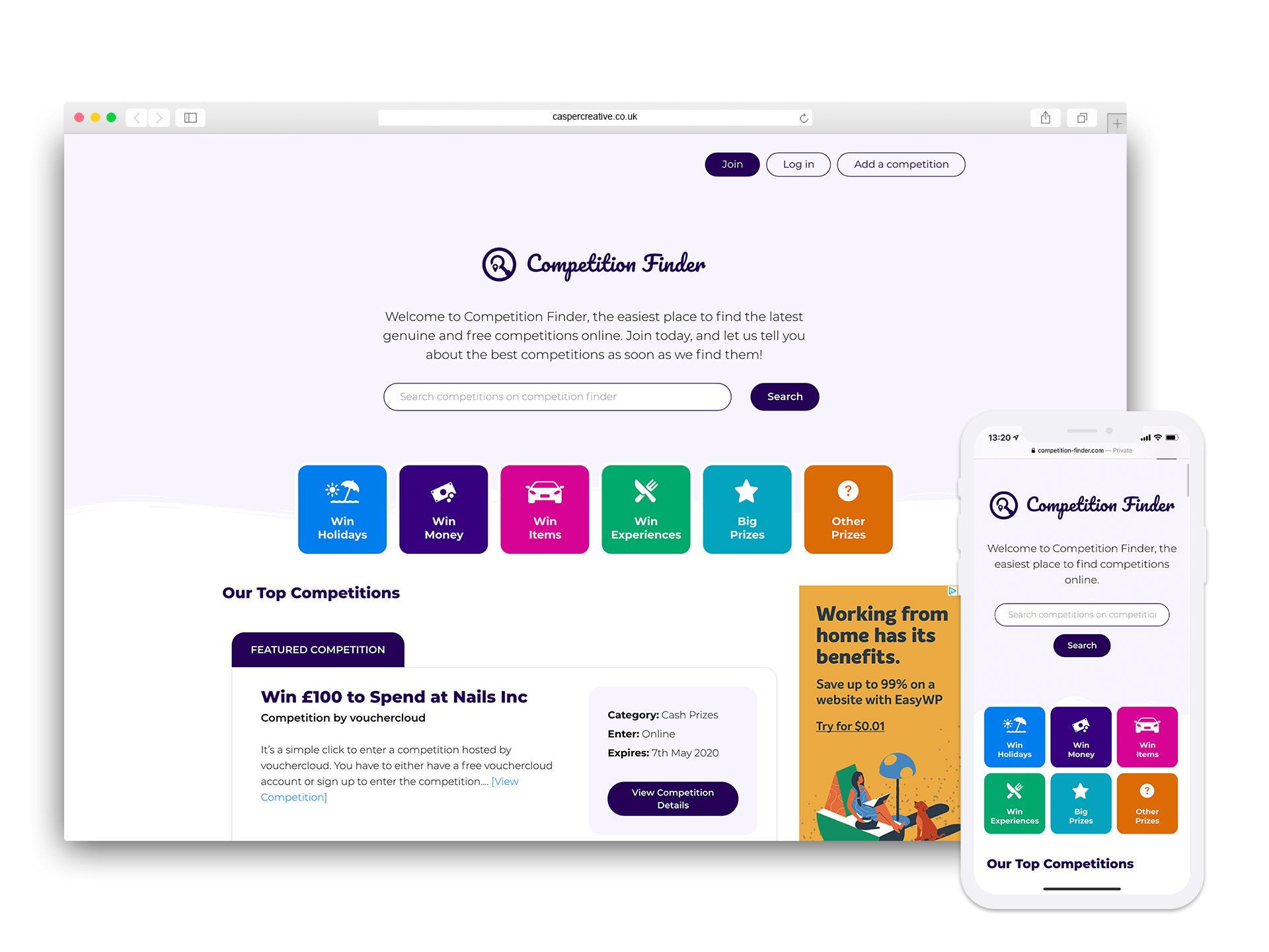 Competition Finder Website - Designed and Developed by Casper Creative