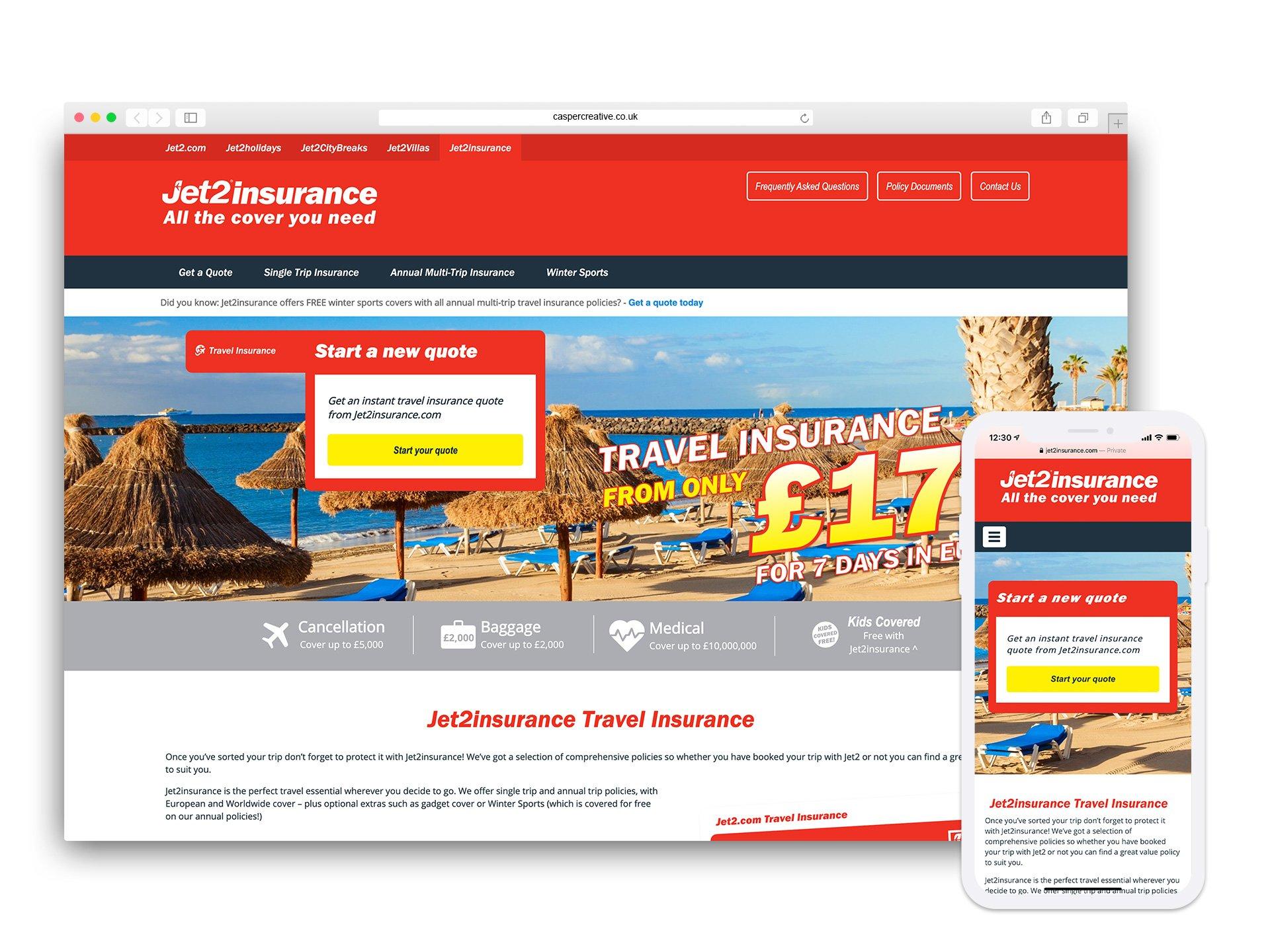 Jet2Insurance Website - Designed for ROCK Insurance Group by Casper Creative