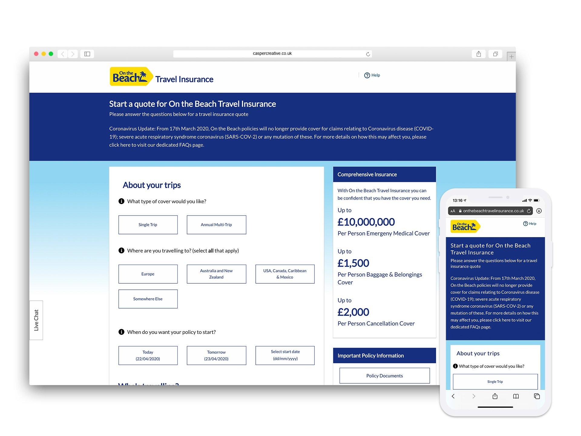 OnTheBeach Travel Insurance Website - Designed for ROCK Insurance Group by Casper Creative
